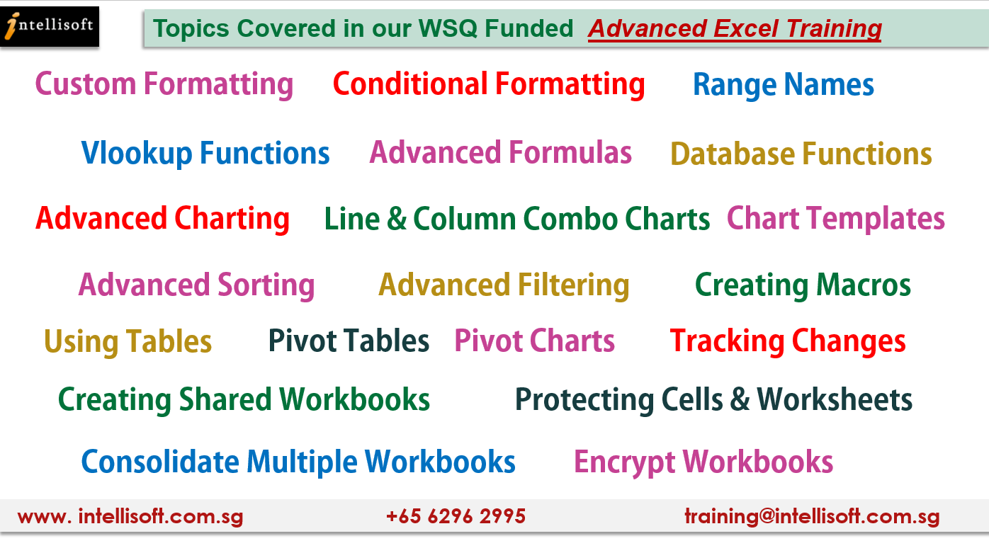 Advanced Excel Training Topics in WSQ Certification