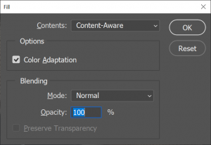 Photoshop content aware fill method to remove unnecessary objects
